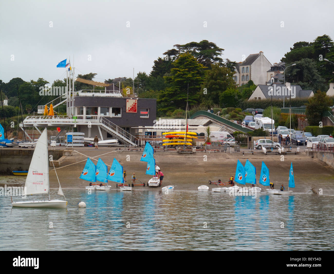 Sailing school at La Trinite Sur Mer, Brittany, France - Stock Image