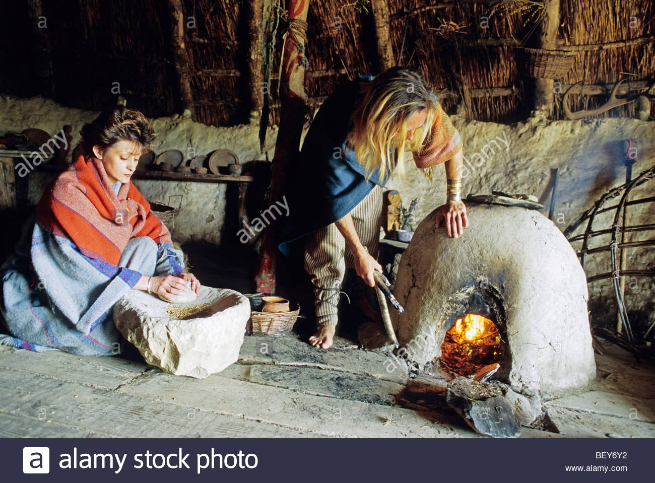 The reconstructed celtic village of Castell Henllys. Wales, great britain - Stock Image