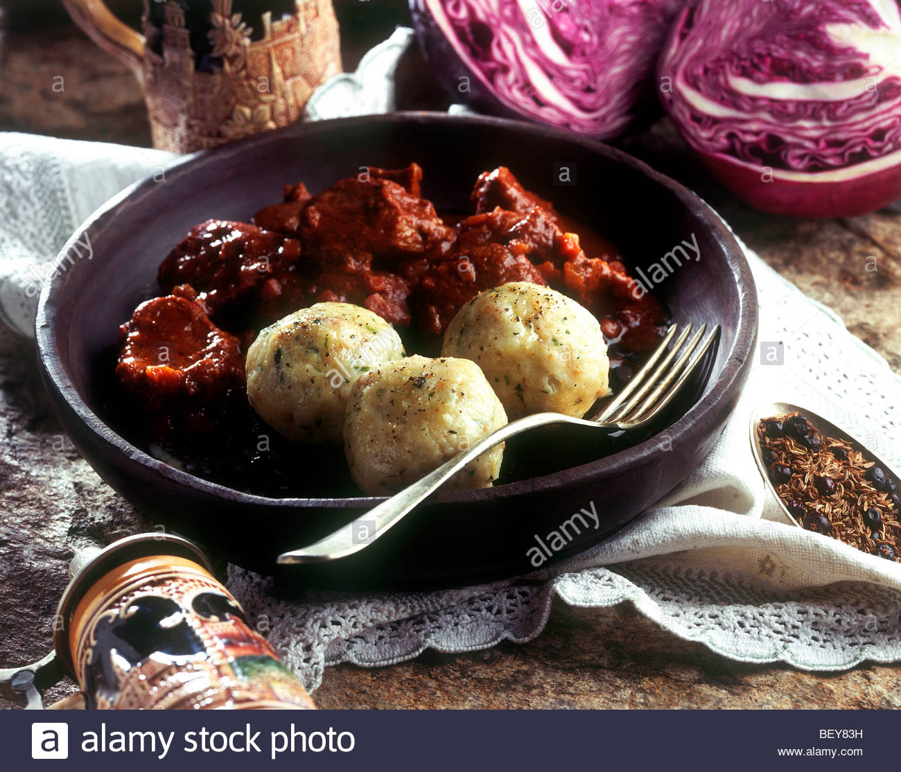 knodel with speck ham - Stock Image