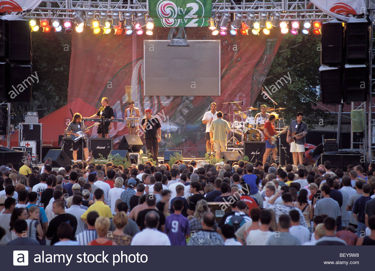 Open air concert at the «Coca Cola Beach». Siofok, Lake Balaton, HUNGARY - Stock Image