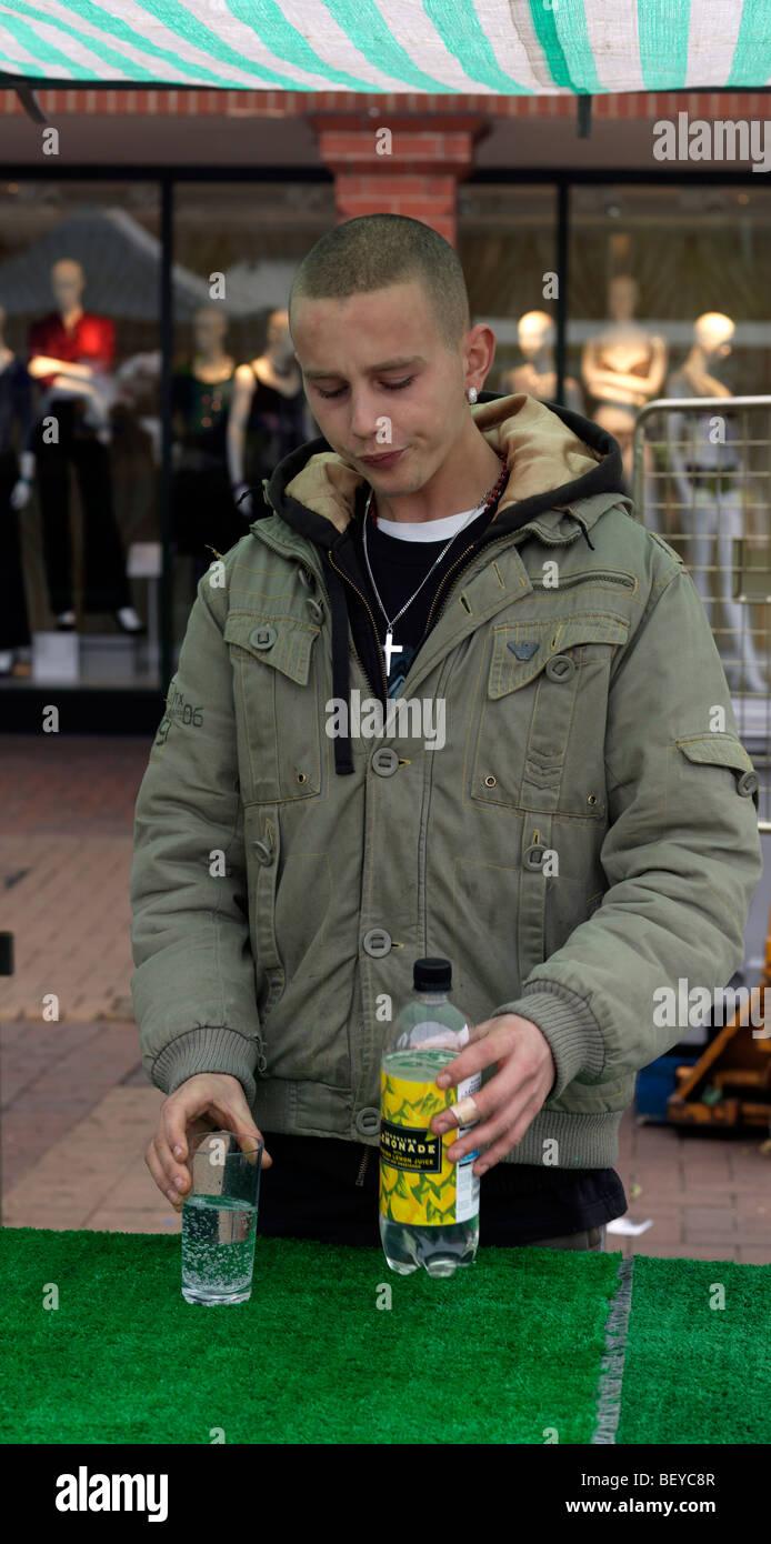 20 Year Old Man Drinking Lemonade - Stock Image