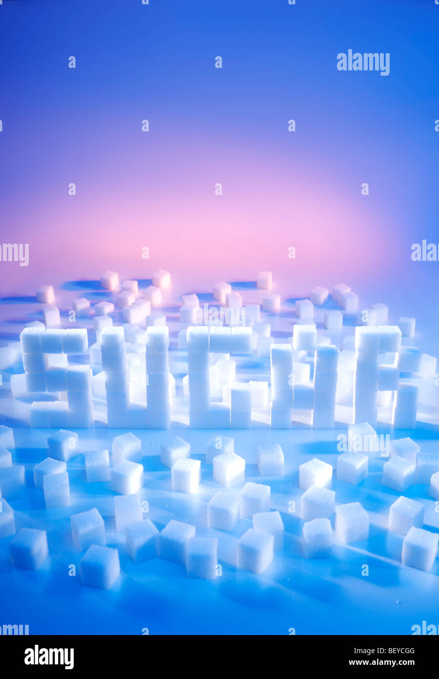 Word SUGAR made from sugar cubes - Stock Image