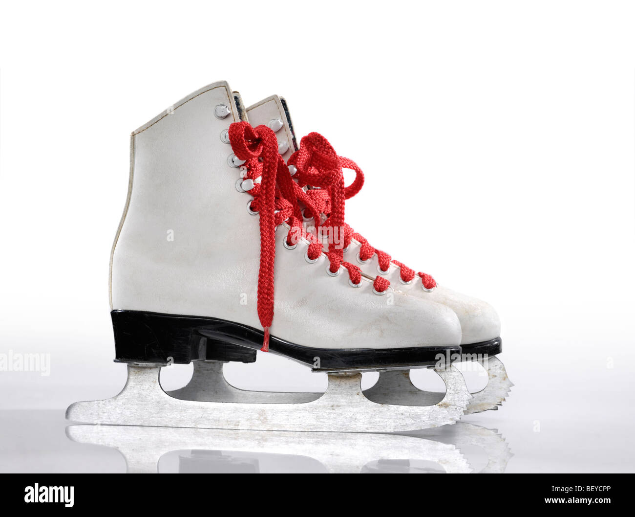 Ice skates with red laces - Stock Image