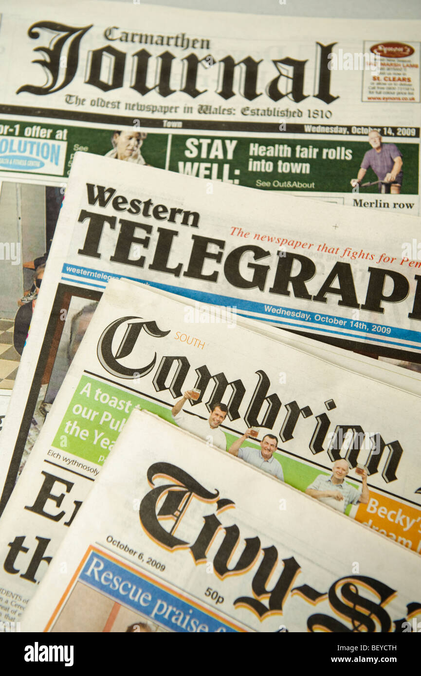 The front pages of assorted various welsh local national and regional newspapers, wales UK - Stock Image