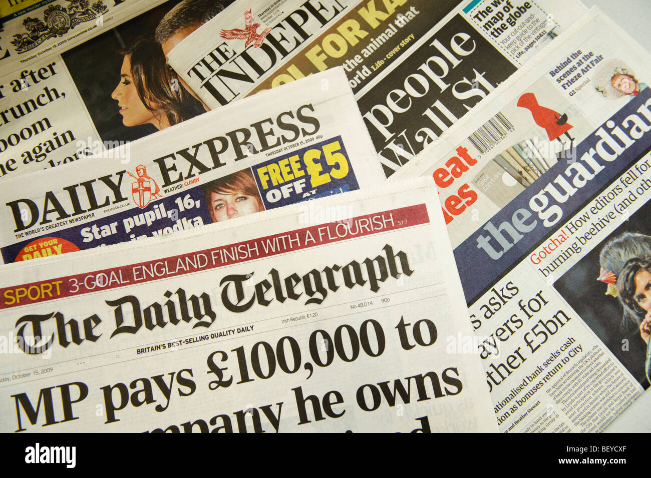 headlines on the  front pages of various broadsheet british national newspapers, UK Stock Photo