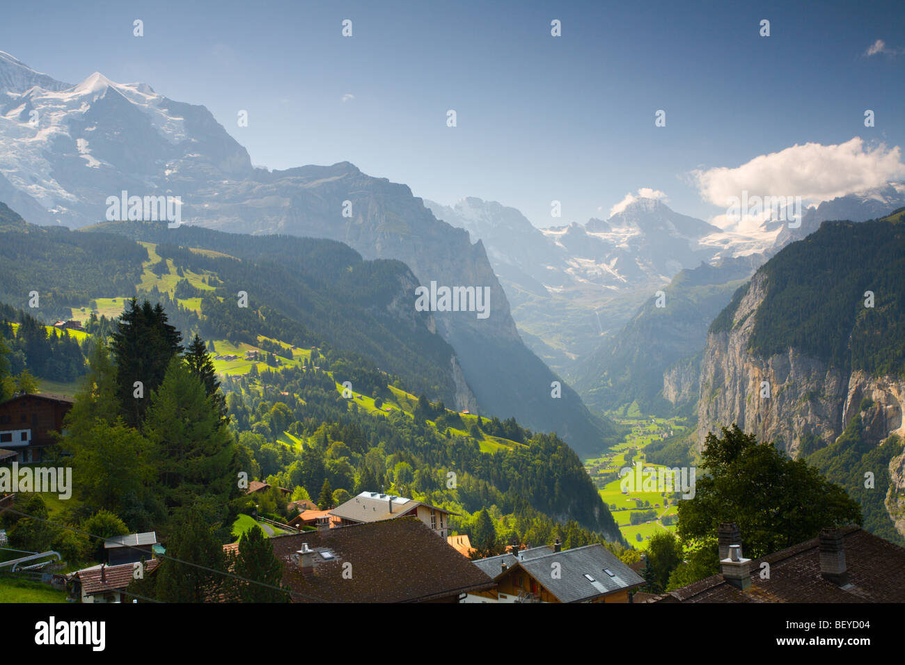 Lauterbrunnen valley from Wengen, Switzerland - Stock Image