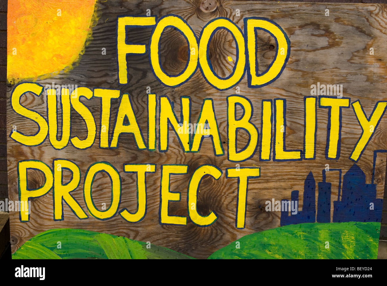 Hand painted sign for a food sustainability project, Columbia University campus, New York City - Stock Image