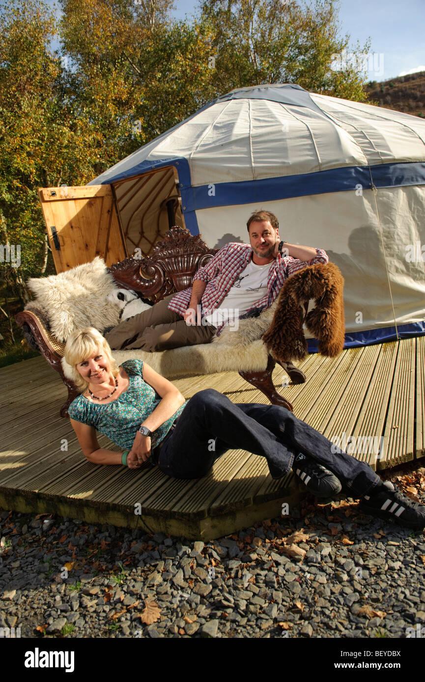 John Mckenzie-Murdoch and Sarah Heyworth owners of the Graig Wen campsite and yurt Arthog, Snowdonia National Park, - Stock Image