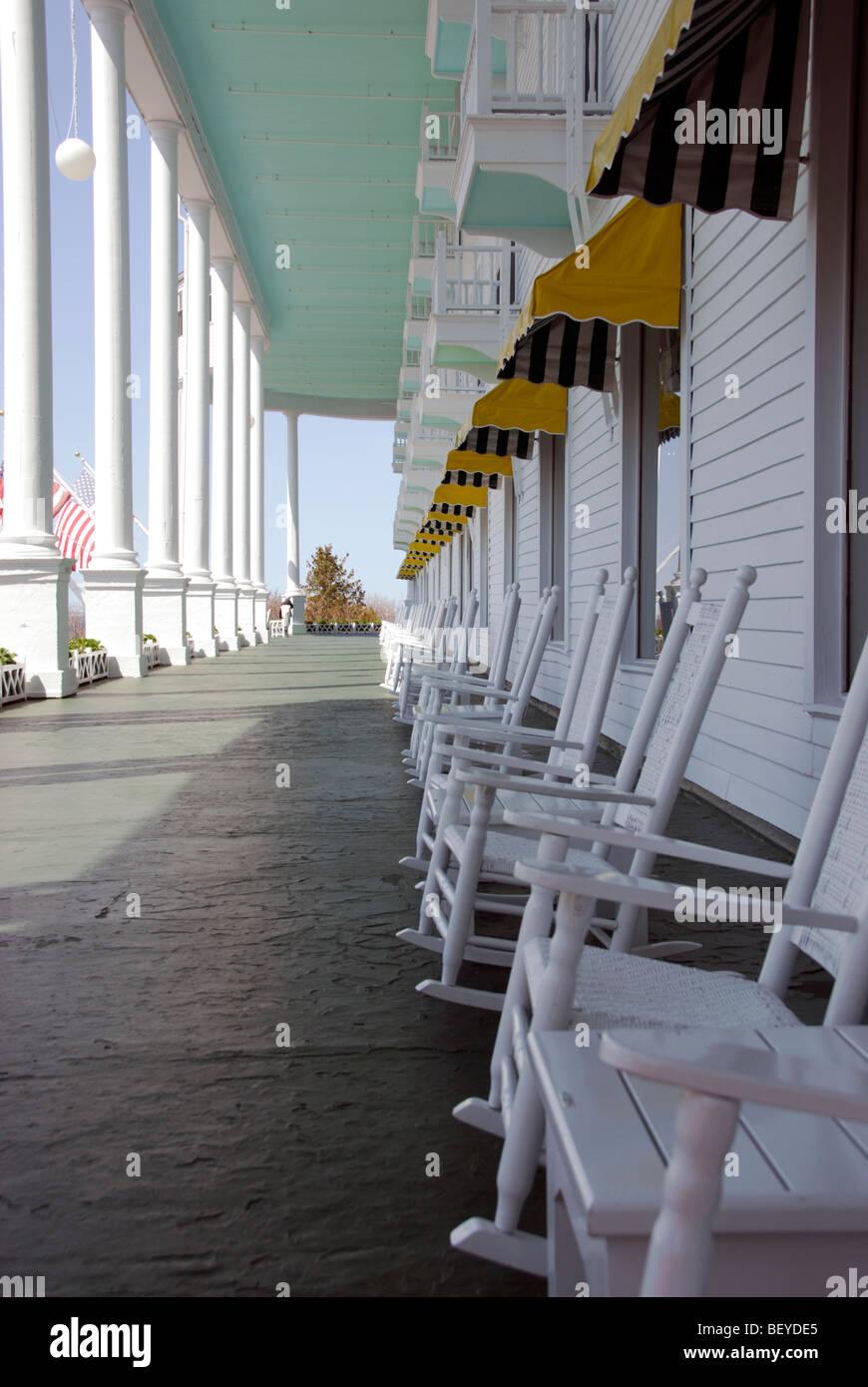 Rocking Chairs On Longest Porch In Grand Hotel Mackinac Island Stock Photo Alamy