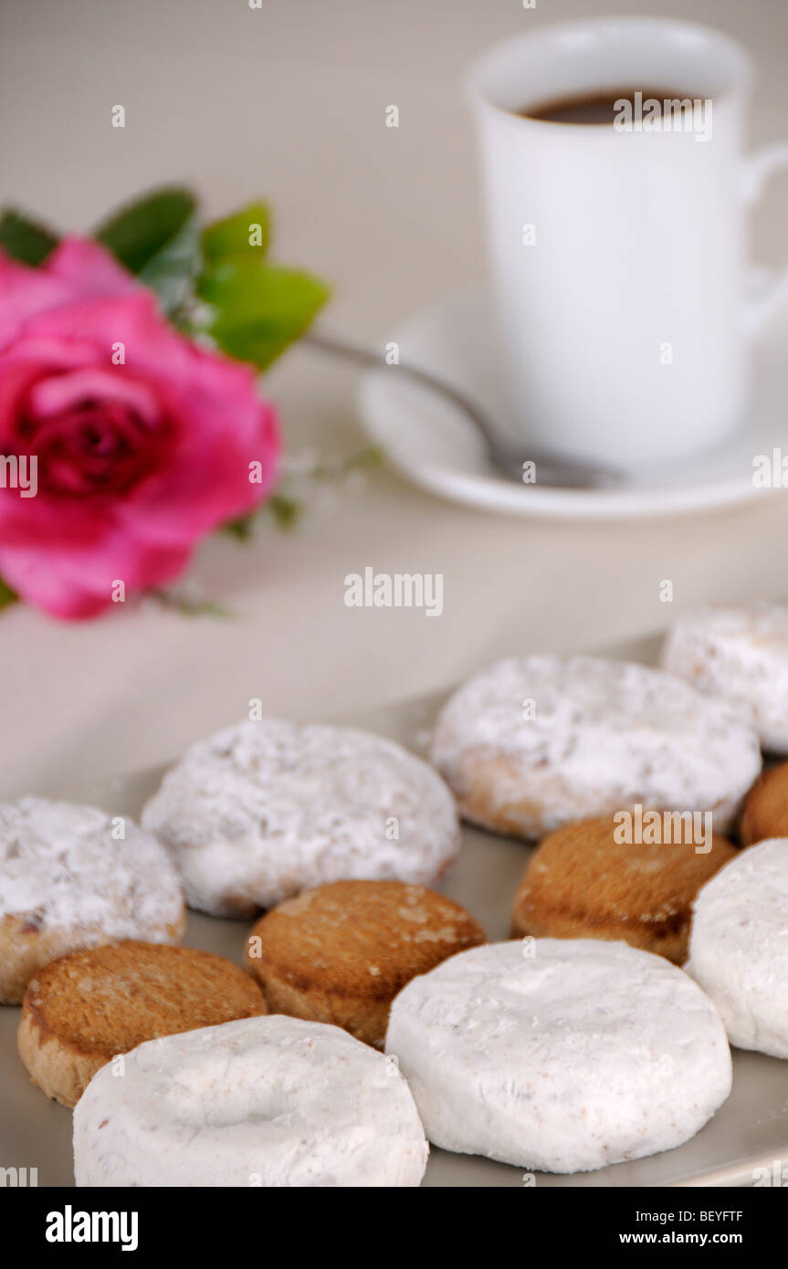 Image of coffee and bun - Stock Image