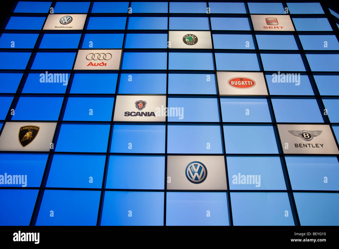 VW brands are seen at an automobile show of the Volkswagen AG in Hamburg, Germany. - Stock Image