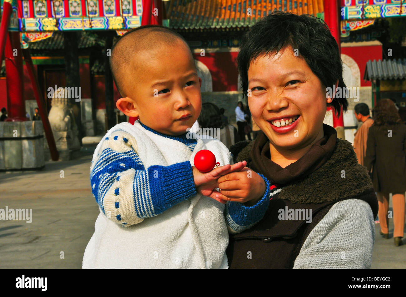 Mother and Child Beijing China - Stock Image