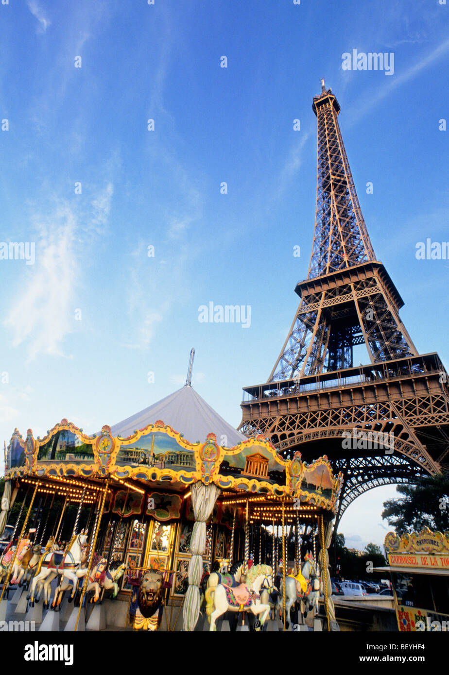 The Eiffel Tower and Carousel Paris France Sandra Baker - Stock Image
