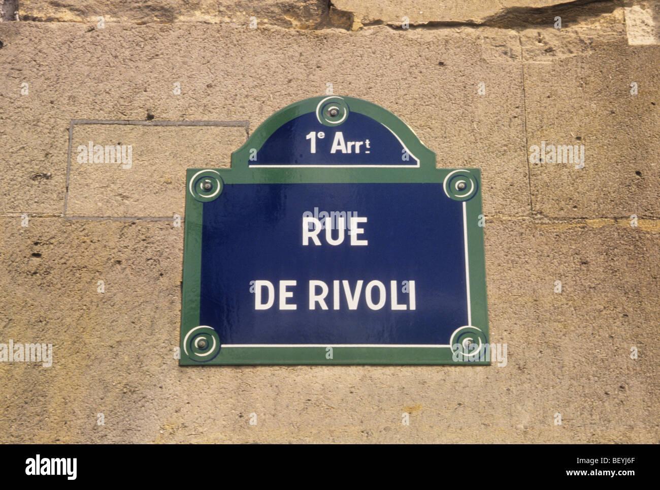 Europe France Paris Rue de Rivoli Street Sign Stock Photo: 26422551