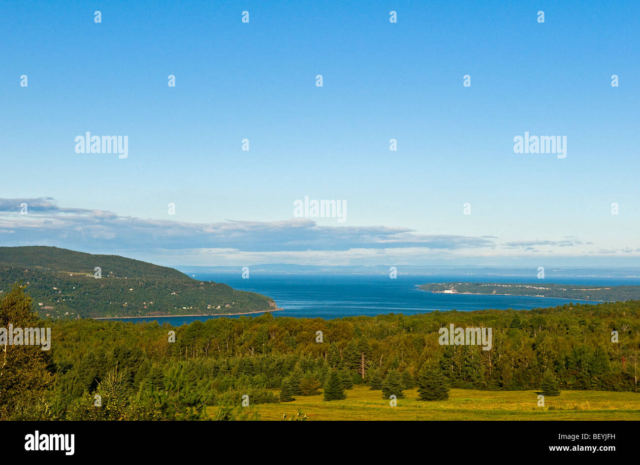 Baie Saint Paul & St Lawrence river Charlevoix region Quebec canada - Stock Image