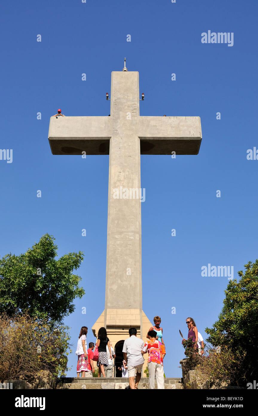 The cross at Filerimos monastery, Rhodes island, Greece - Stock Image