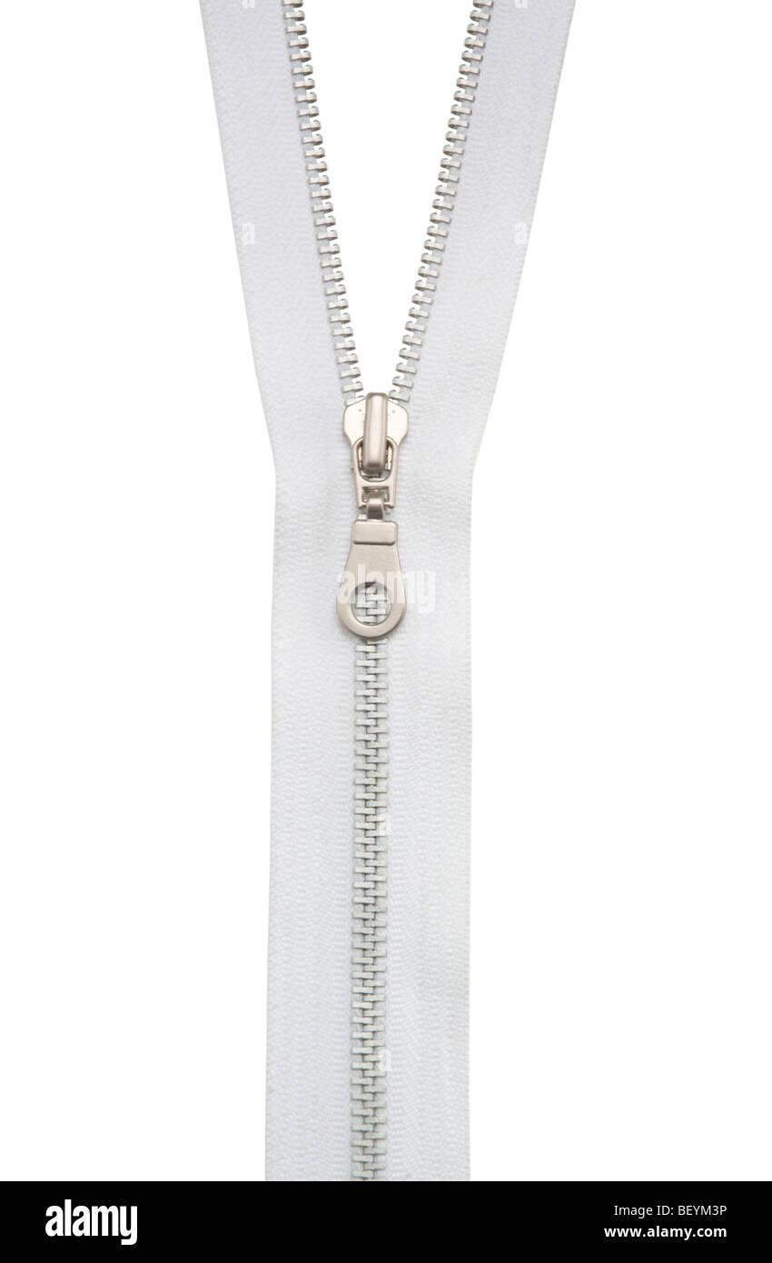 Zipper on white - Stock Image