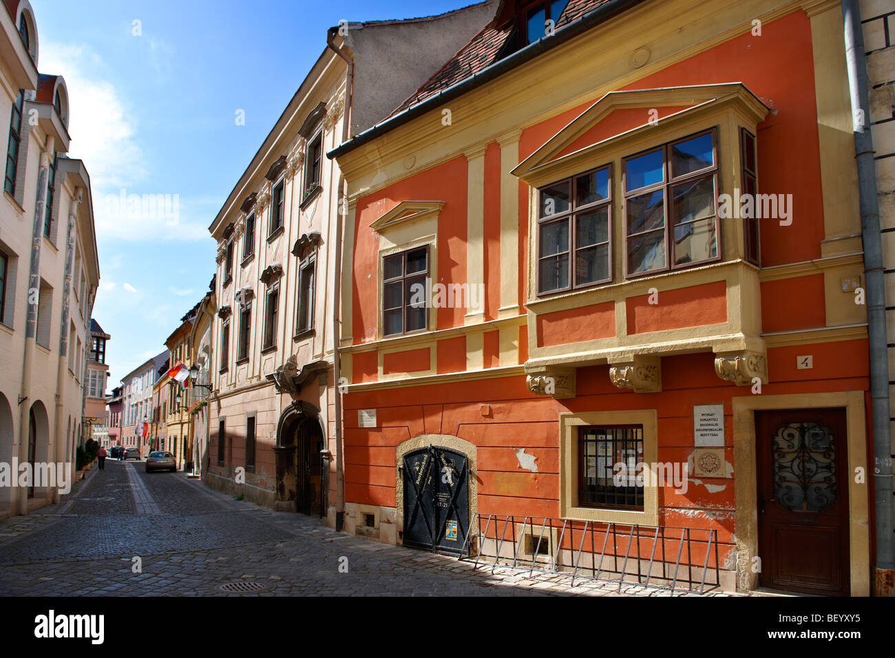 Typical Baroque houses - Sopron, Hungary - Stock Image