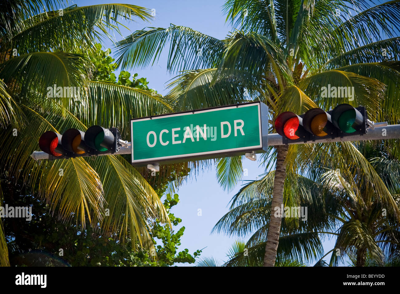 Sign post for Ocean drive, south beach, Miami, Florida, USA - Stock Image
