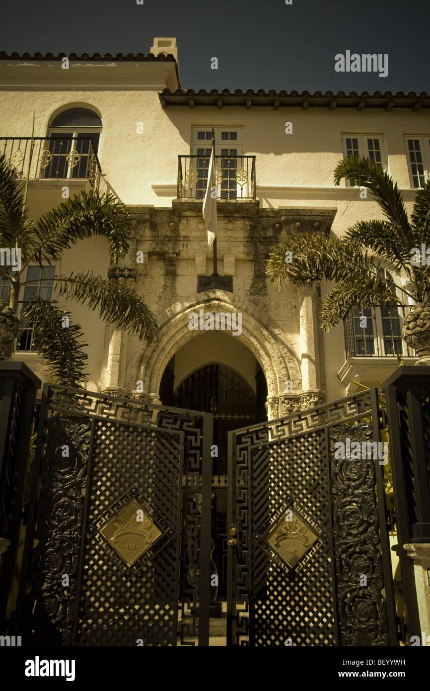 Gates to the The The Villa Casa Casuarina (Versace mansion), Ocean Drive, Miami beach, Florida USA - Stock Image