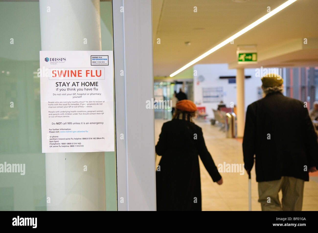 Swine Flu information posters on display at a GP Surgery in Northern Ireland. - Stock Image