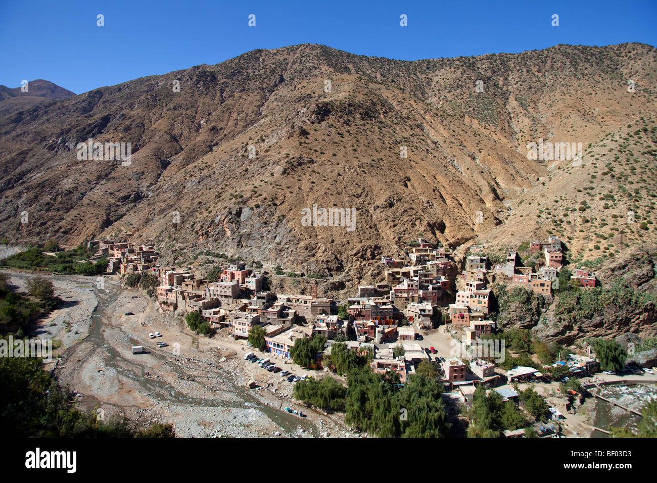 Setti Fatma berber village in Ourika Valley, High Atlas mountains 40km from Marrakesh, Morocco - Stock Image