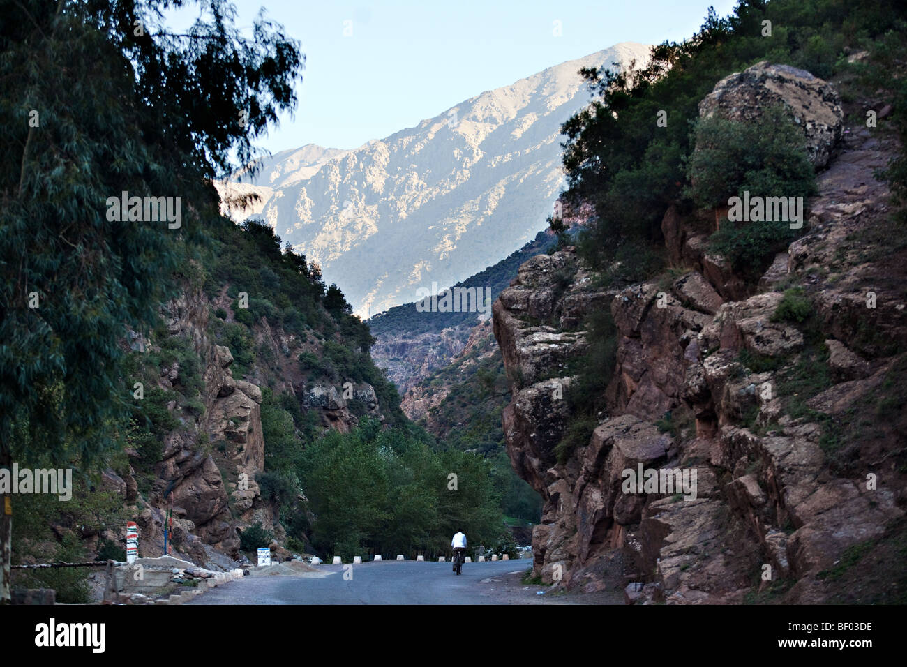 A road in Ourika Valley, High Atlas mountains, Morocco - Stock Image