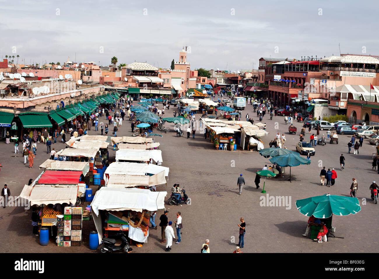 Jemaa el Fna main square in the medina of Marrakesh, Morocco. Stock Photo