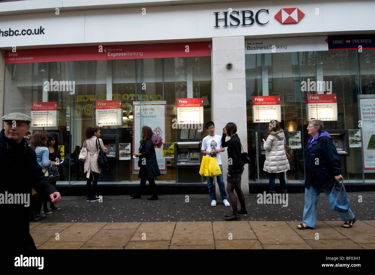 Oxford Street West End London  HSBC bank on a Saturday afternoon
