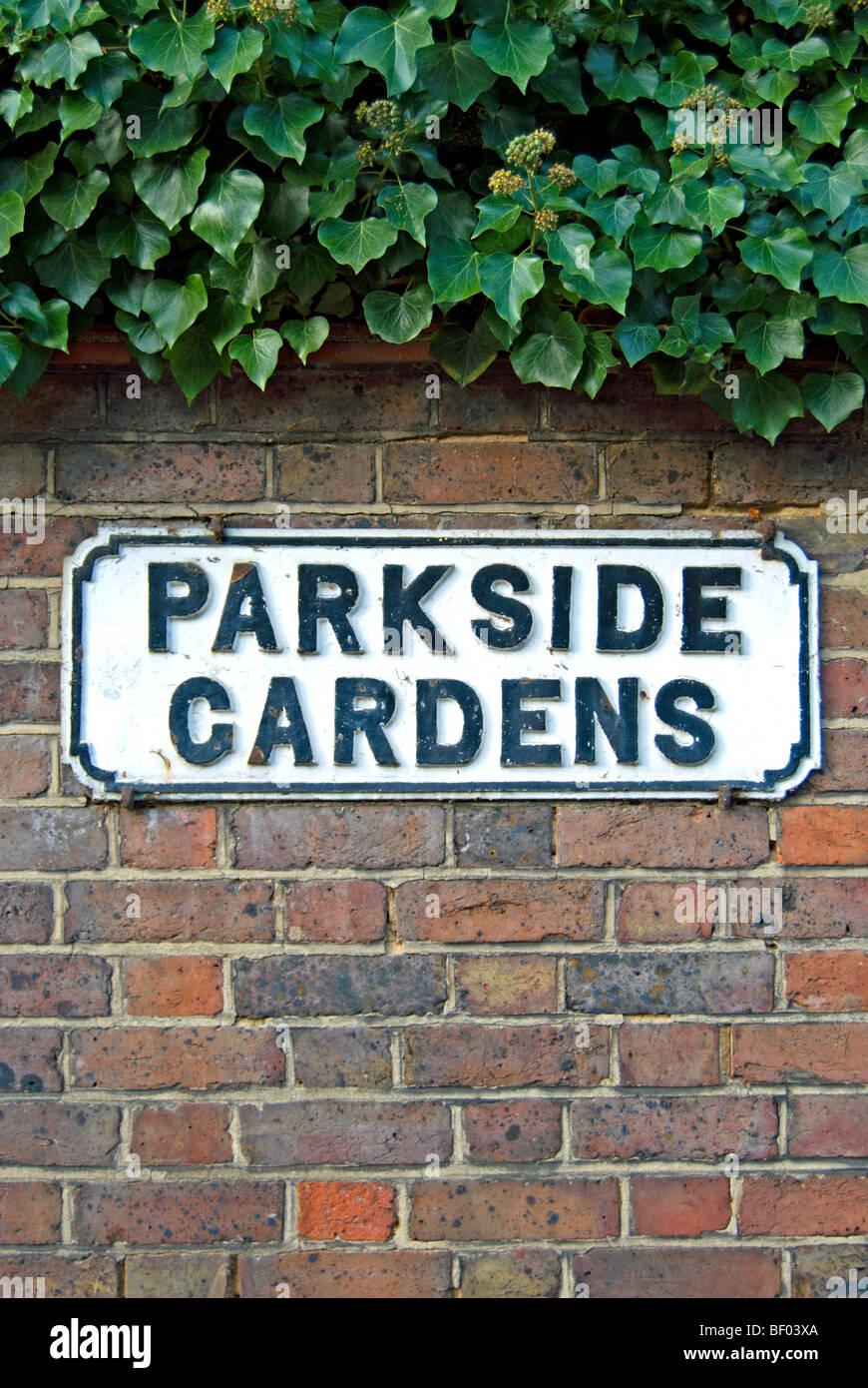 Street Name Sign For Parkside Gardens, Wimbledon, Southwest London, England