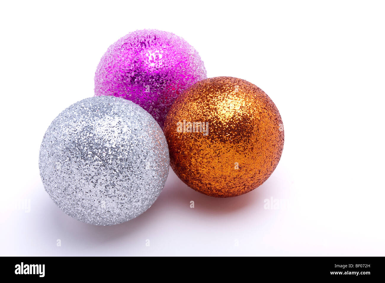 christmas bauble decorations isolated against white background cut out stock image