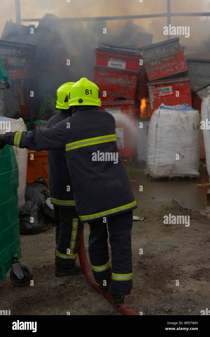 FIRE AT WASTE PAPER RECYCLING PLANT - Stock Image