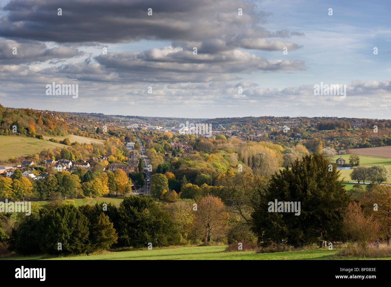Chilterns rural landscape view from West Wycombe hill towards High Wycombe Buckinghamshire UK - Stock Image