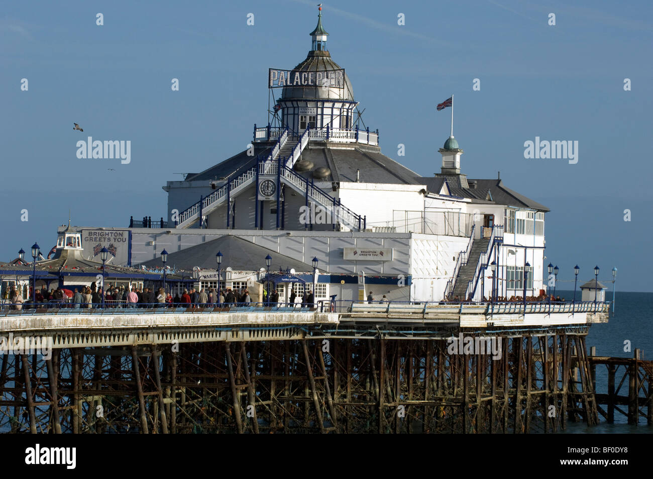 Eastbourne Pier renamed Brighton Palace Pier for the 2009 location filming of a 1960s version of 'Brighton Rock' - Stock Image