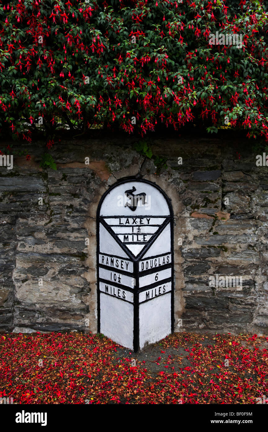 Road Distance Mileage Sign Laxey Isle Of Man - Stock Image