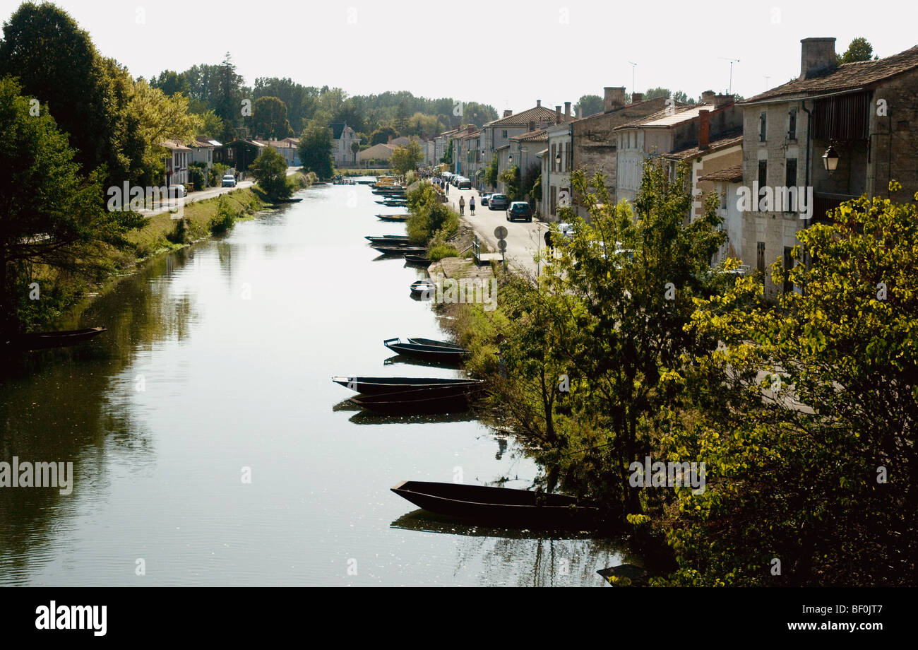Looking along Coulon's long riverside quay and the traditional flat-bottomed boats  used in France's Marais - Stock Image