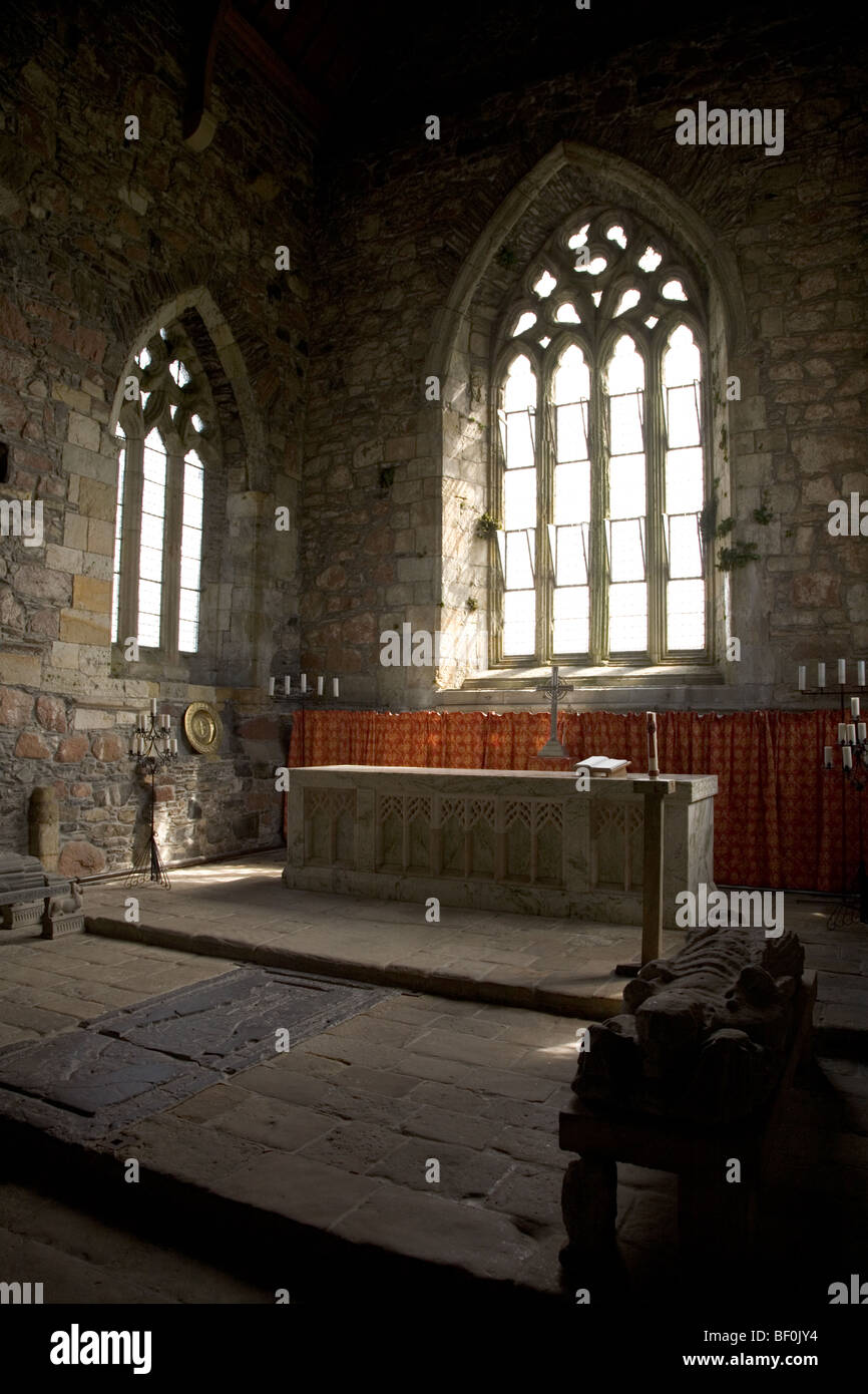 Interior of Iona Abbey and alter - Stock Image