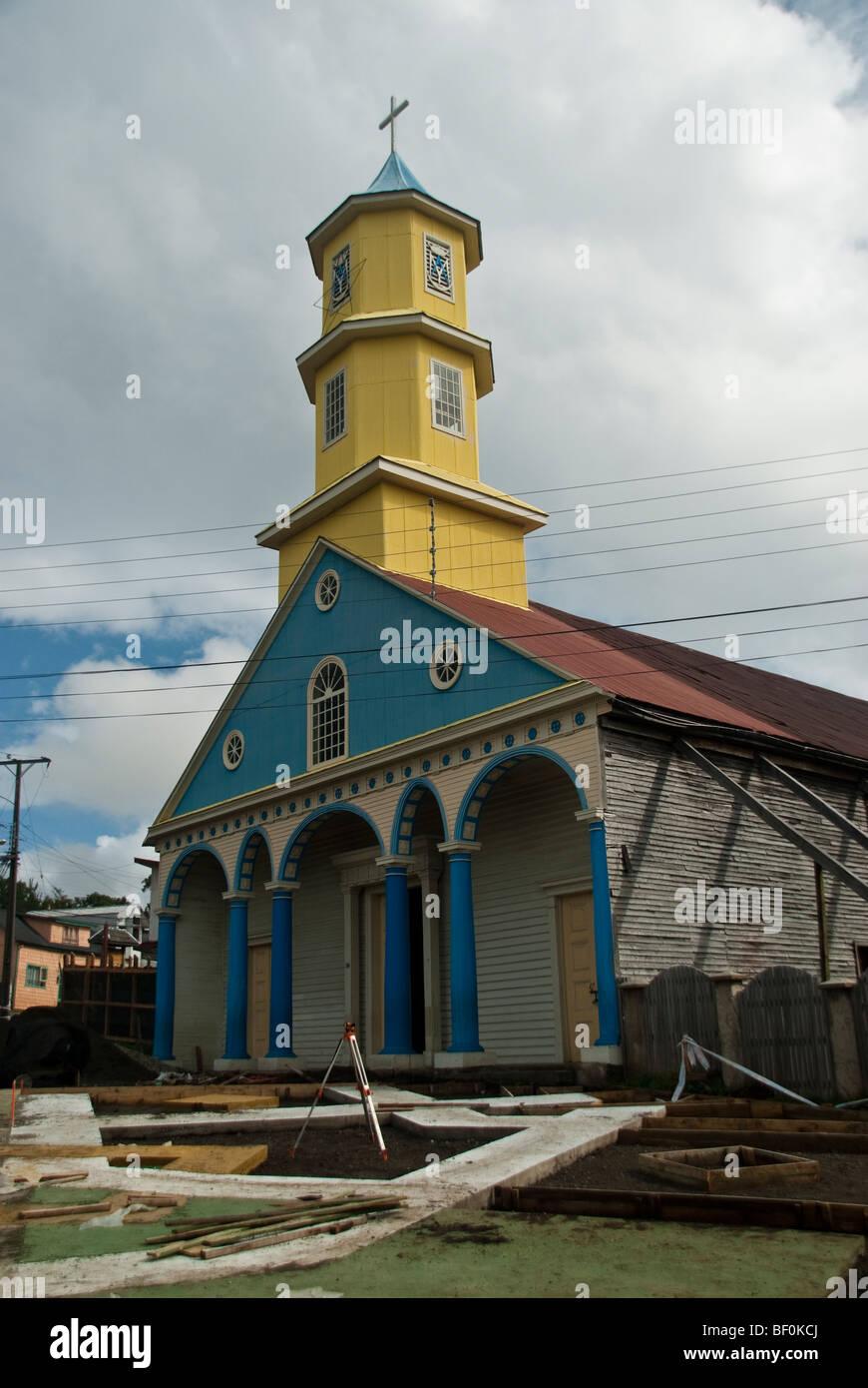 Church of Chonchi; Chiloe Island; Chilota architecture,  unique architectural phenomenon in the Americas - Stock Image