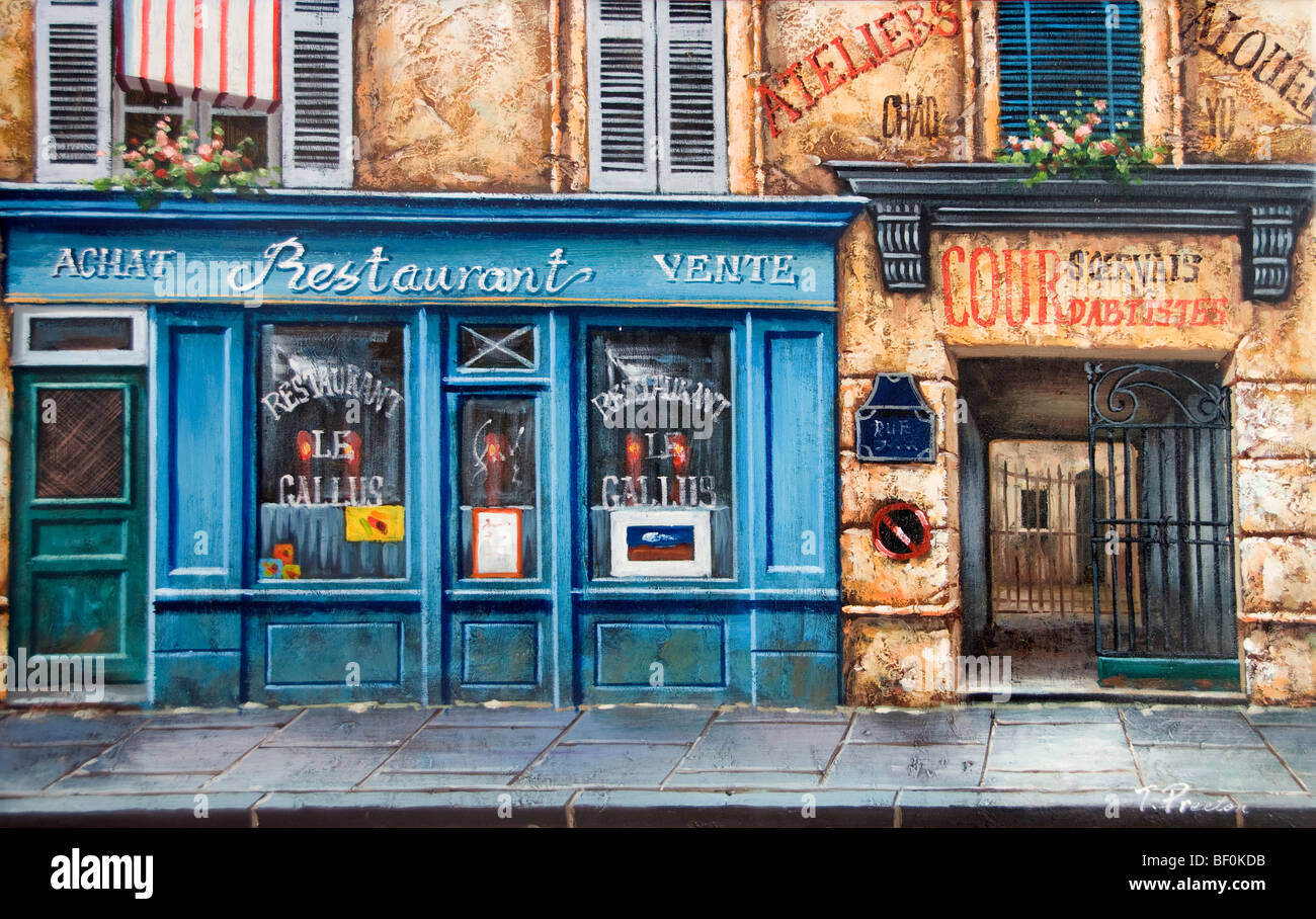 Paris France French Painting Bar Cafe Restaurant