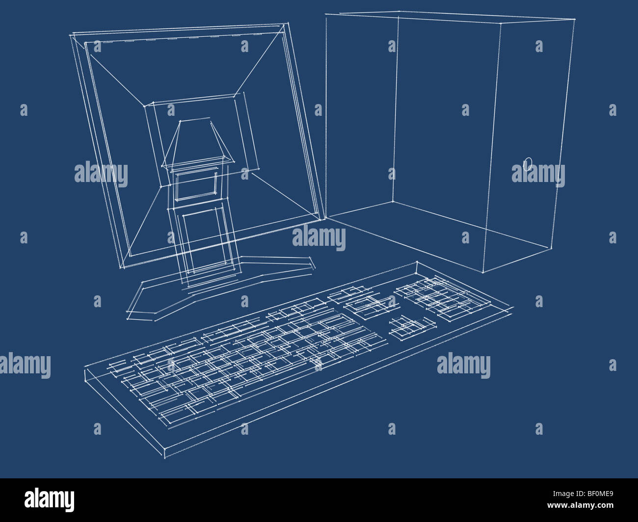 Blueprint of a computer, LCD monitor and keyboard in three ...