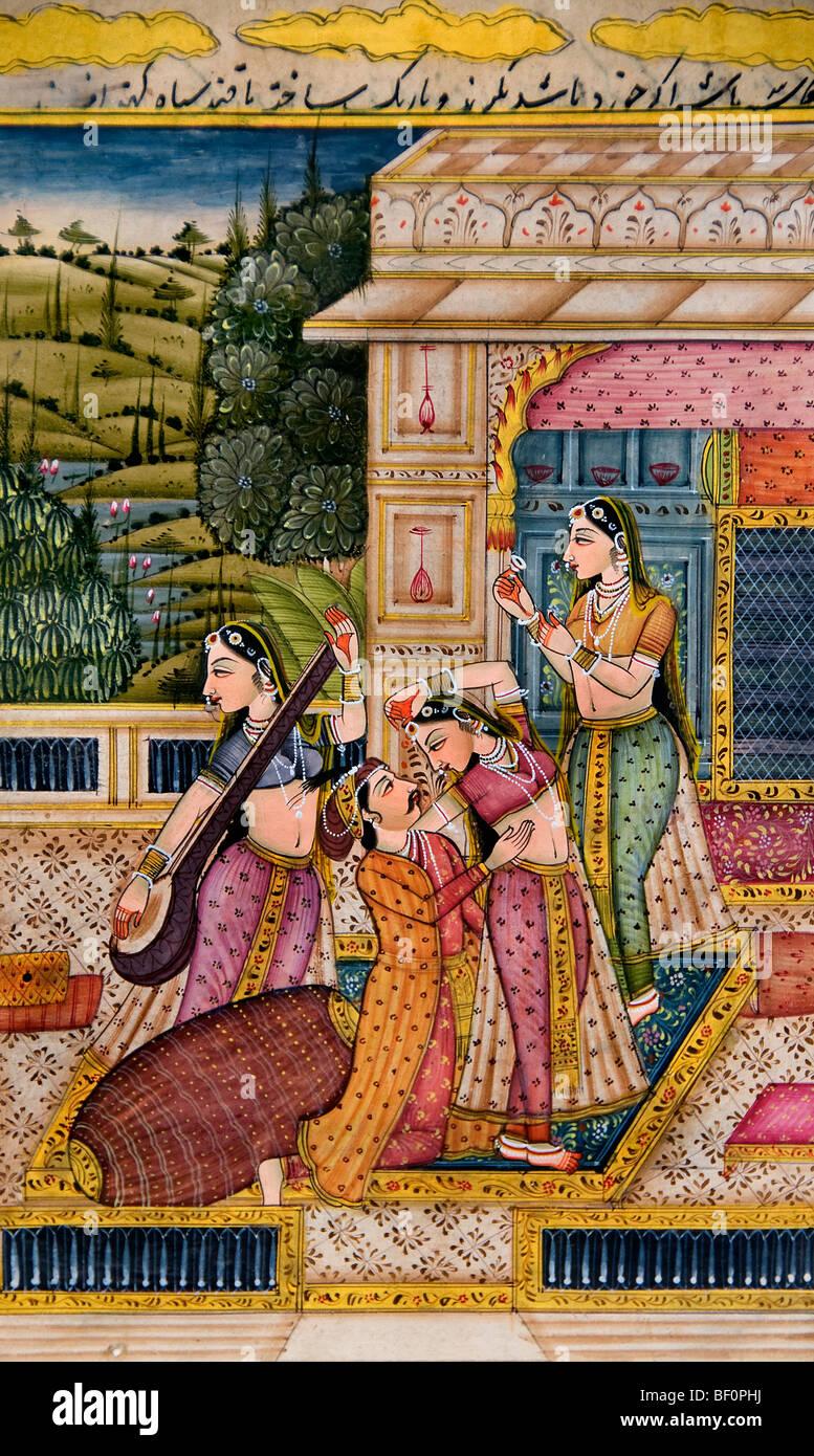 India Man women Indian Drawing Painting romance - Stock Image