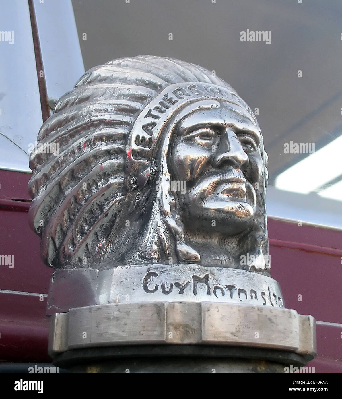 Radiator Cap Native Indian bust Guy Motors Ltd - Stock Image