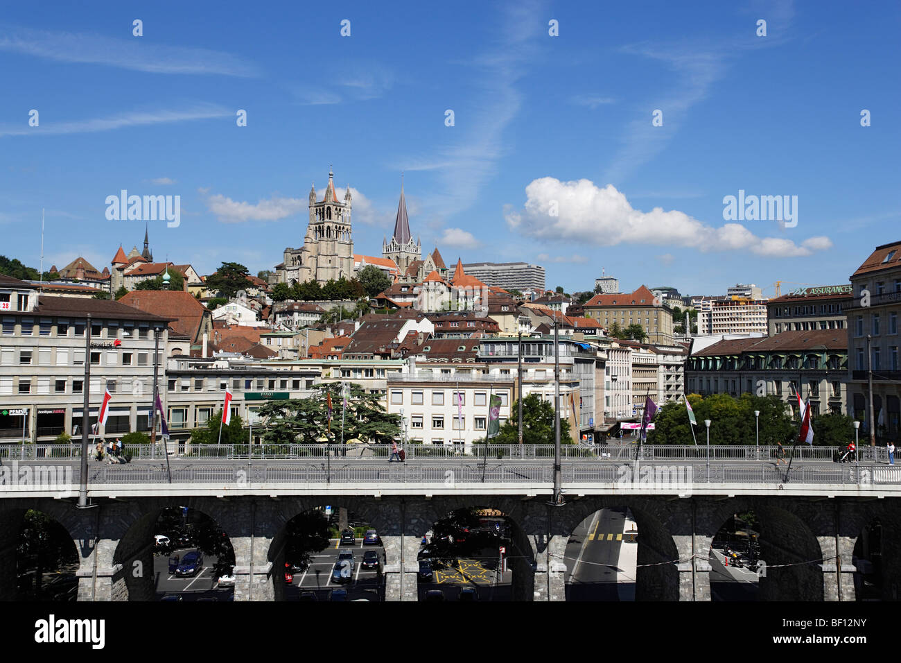 View over Grant Pont to Cathedrale Notre-Dame, Lausanne, Canton of Vaud, Switzerland Stock Photo