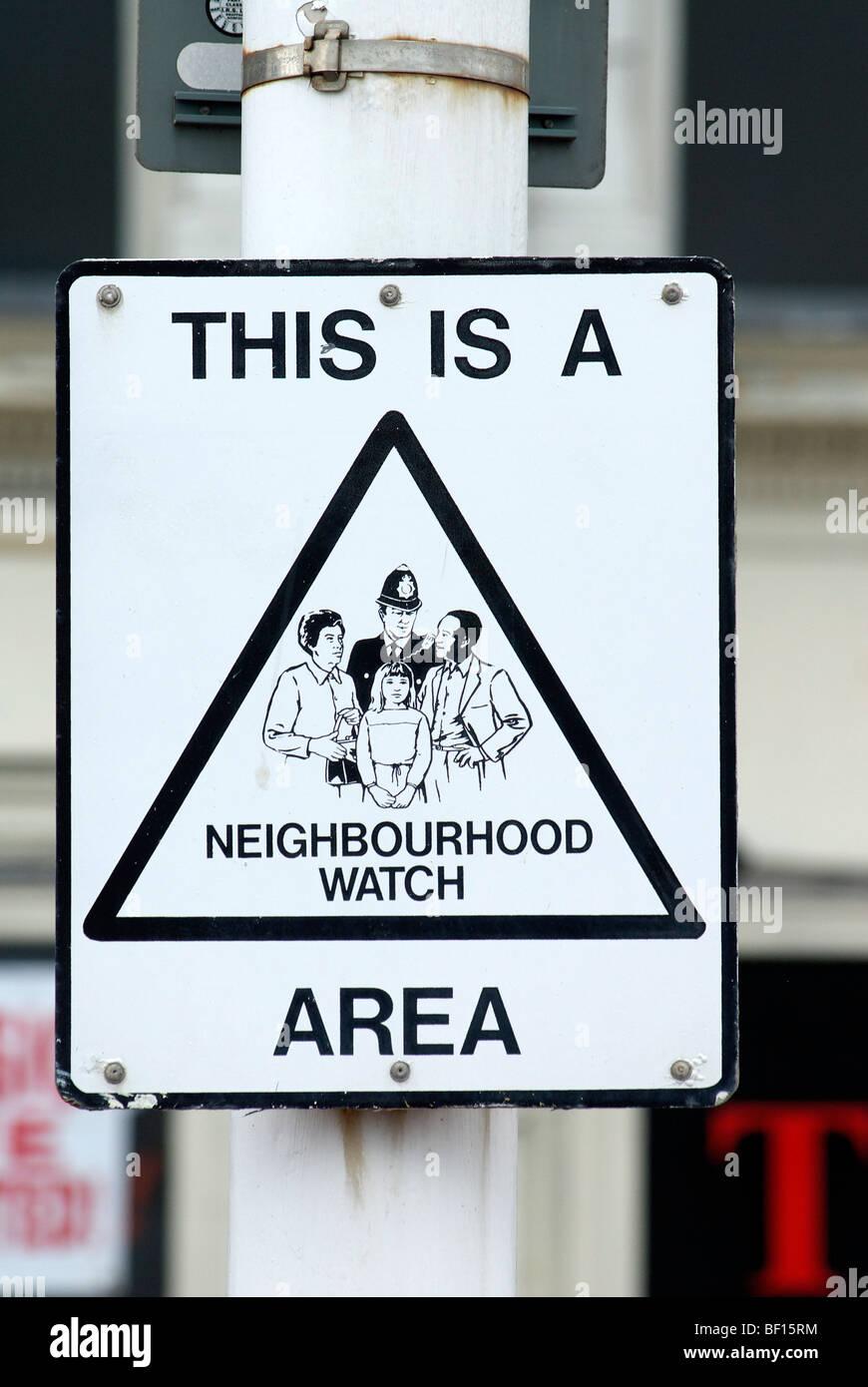 Neighbourhood Watch Area Sign - Sep 2009 - Stock Image