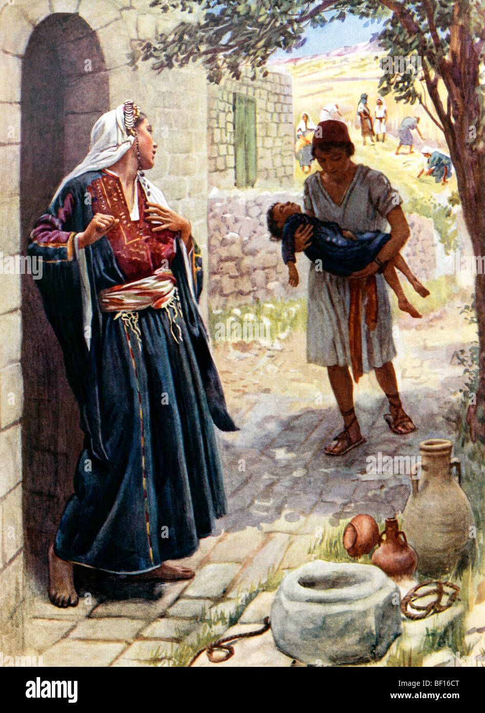 Painting Of The Shunammite Woman Pictured With Elisha Prophet Holding Her Son Painted By Harold Copping