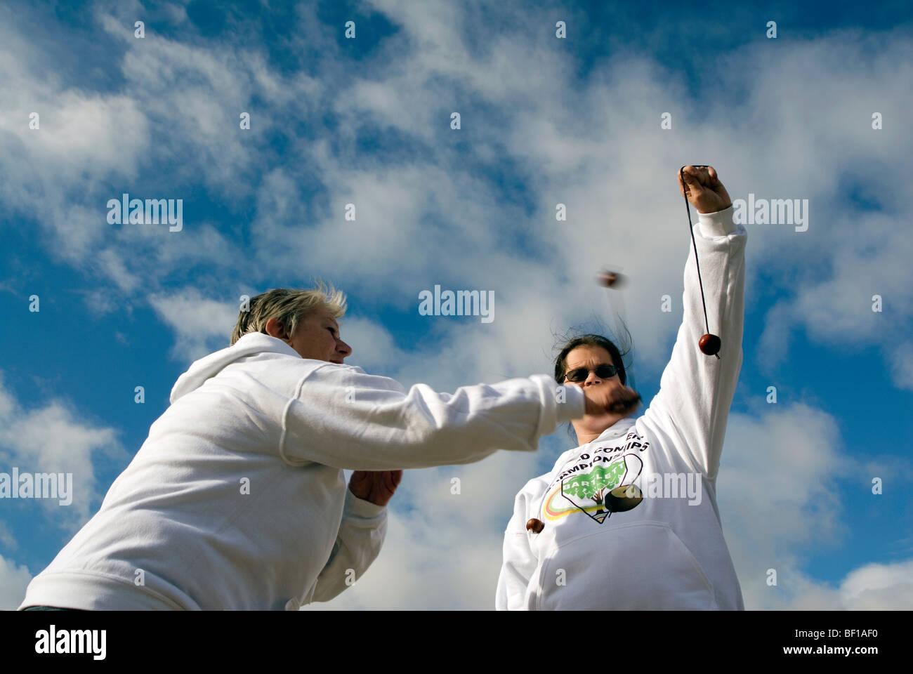 Sue Howes2009 champion winner winning the 45th World Conker Championships near Ashton Northamptonshire 11th October Stock Photo