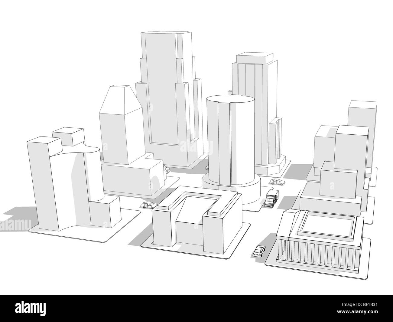 Wire frame rendering of nine city blocks with various building ...