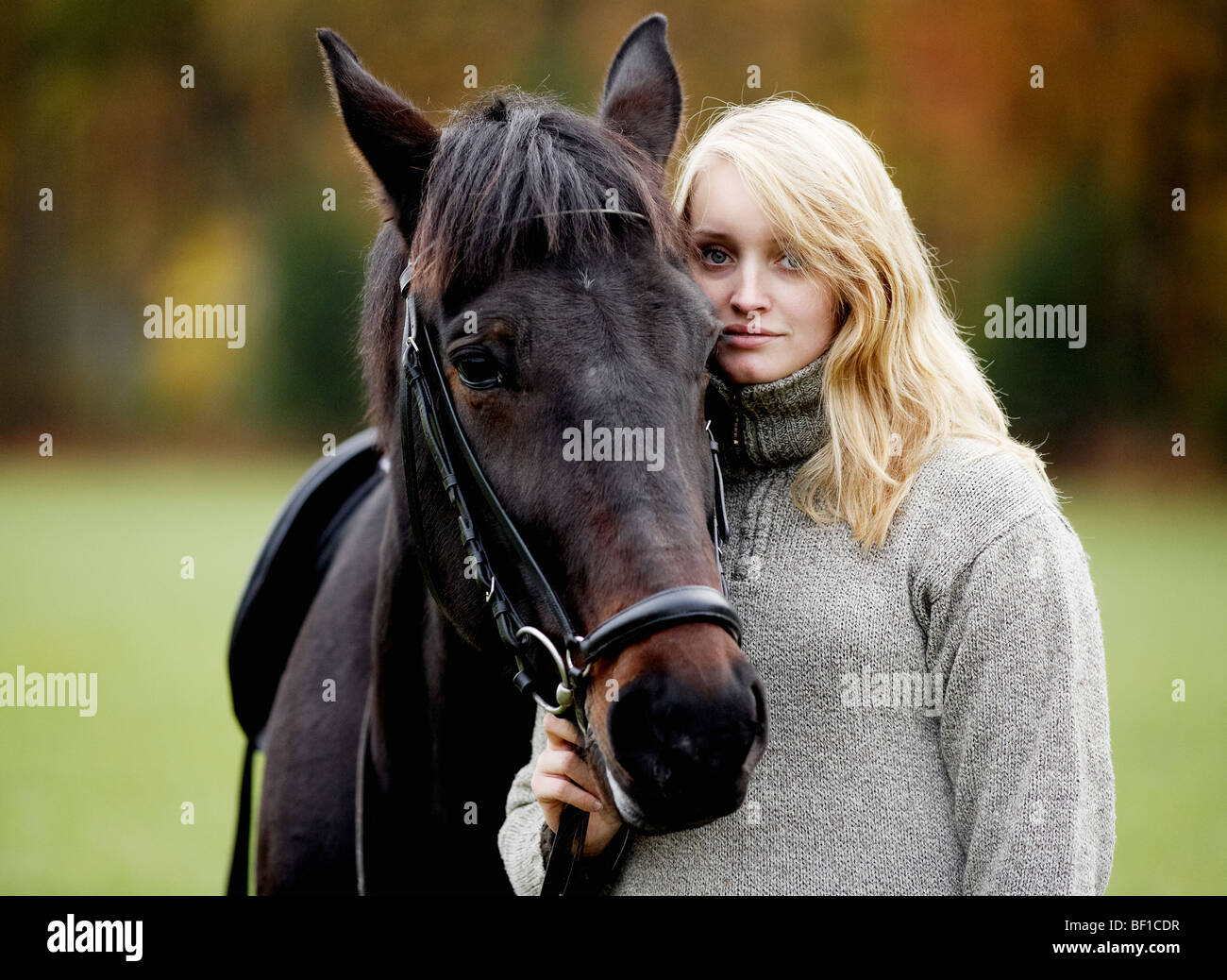 A woman and a horse, Sweden. - Stock Image
