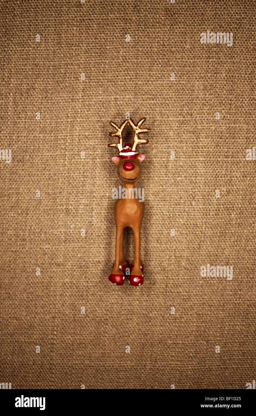 A toy animal against a brow background, Denmark. Stock Photo