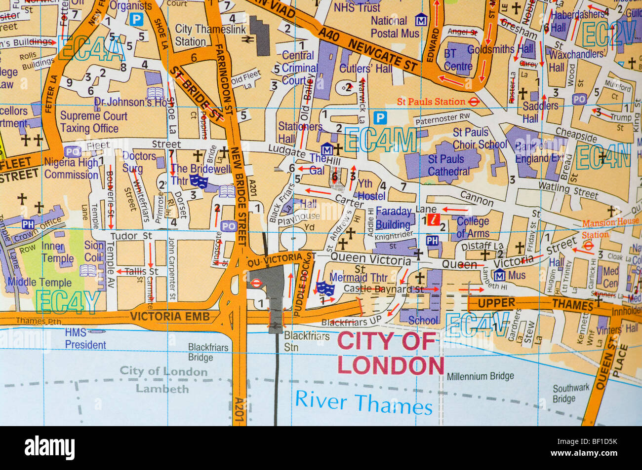 Street Road Map Of The City Of London uk Stock Photo: 26462511   Alamy